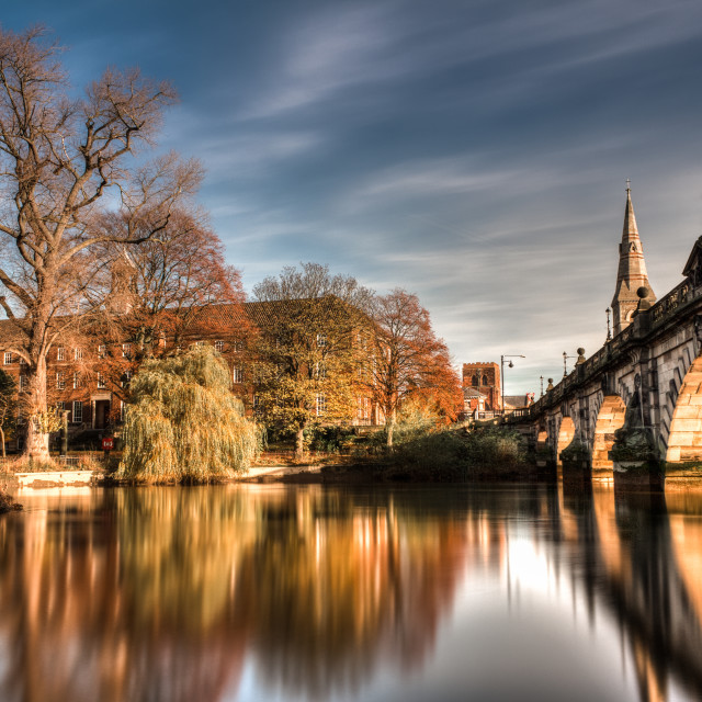 """English Bridge over the Severn in Shrewsbury"" stock image"