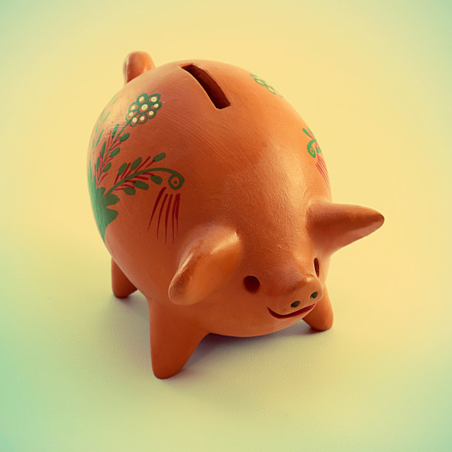 """Decorated piggy bank"" stock image"