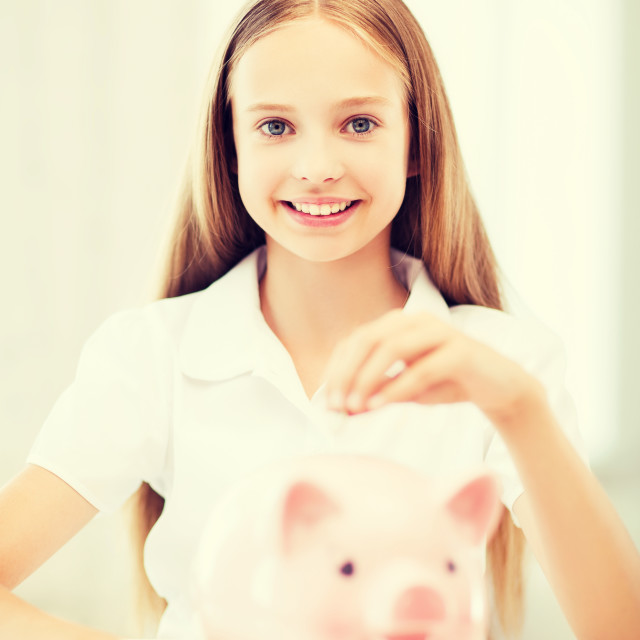 """""""child with piggy bank"""" stock image"""