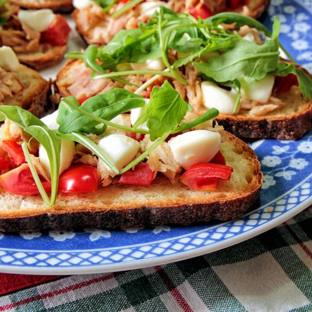 """Italian bruschetta on a decorated plate"" stock image"
