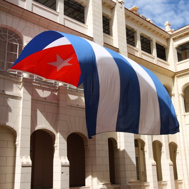 """Cuba Flag Flying in Havana"" stock image"
