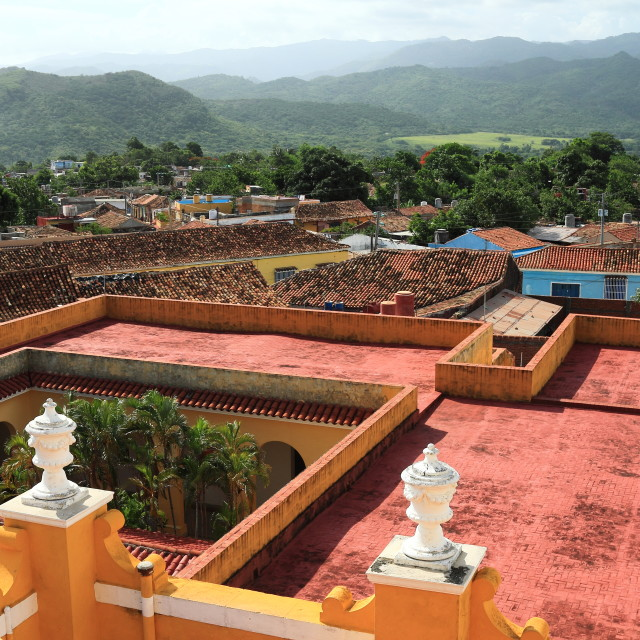 """""""View over rooftops in Trinidad, Cuba"""" stock image"""