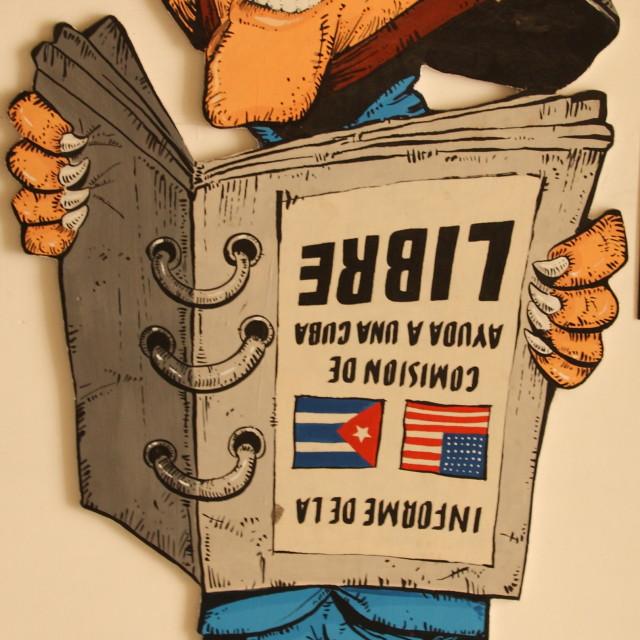 """""""Anti-George Bush Caricature, Havana, Cuba"""" stock image"""