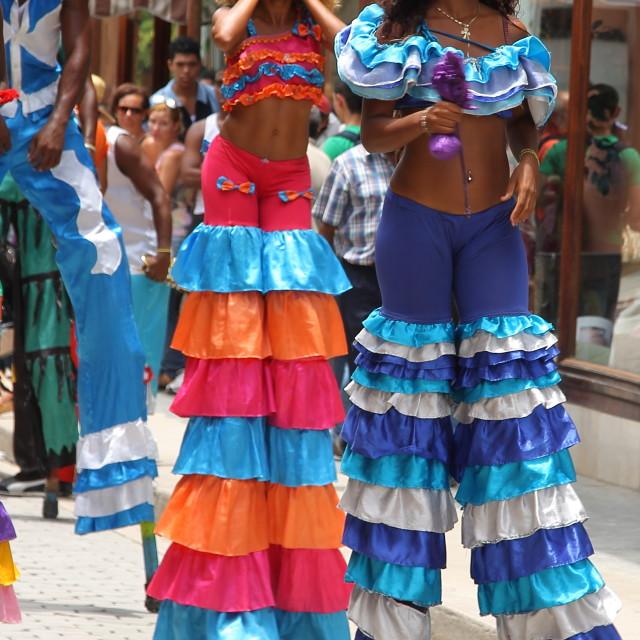 """Female street dancers in Havana, Cuba"" stock image"