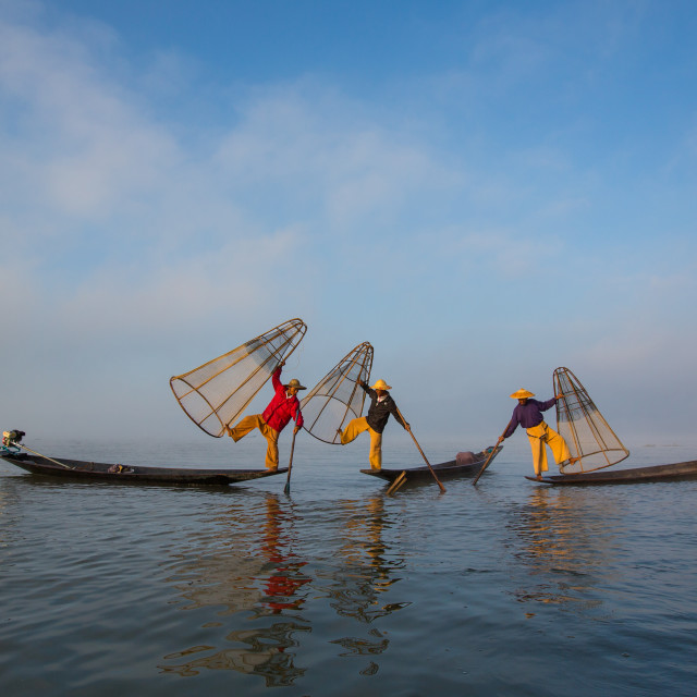 """three inle fishermen"" stock image"