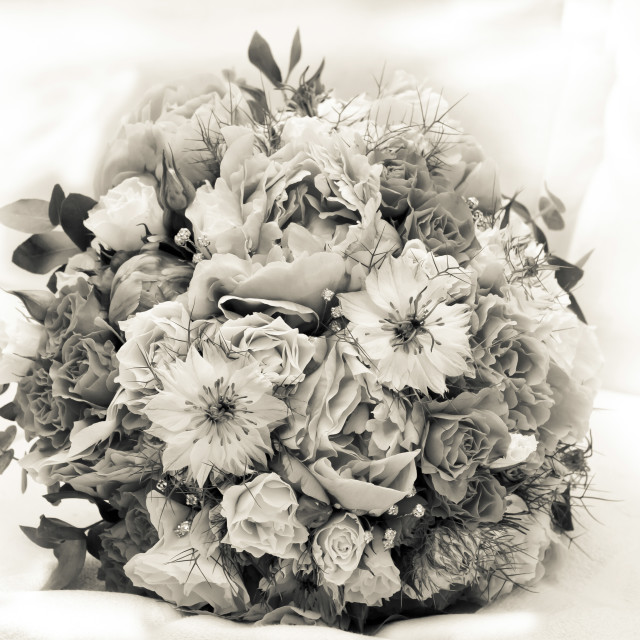 """Mono bridal bouquet"" stock image"
