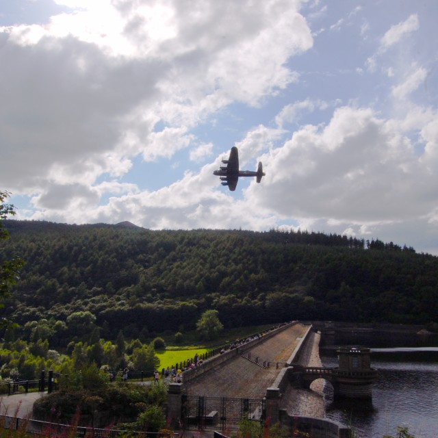 """Thumper over derwent dam"" stock image"