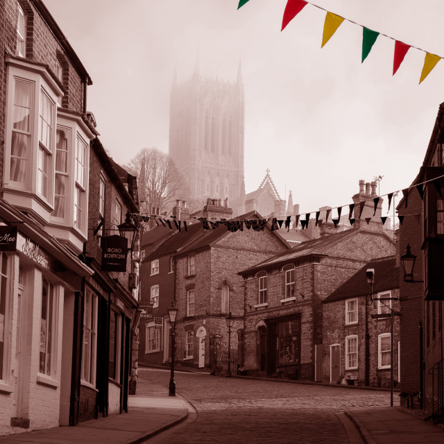 """Lincoln, Steep Hill"" stock image"