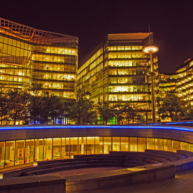 """London Commercial Offices at Night"" stock image"