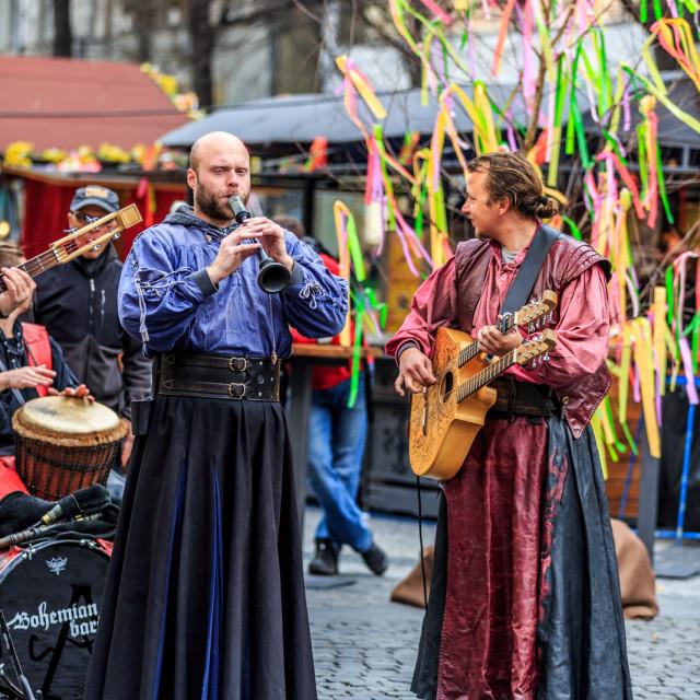 """""""Czech Easter market musicians"""" stock image"""