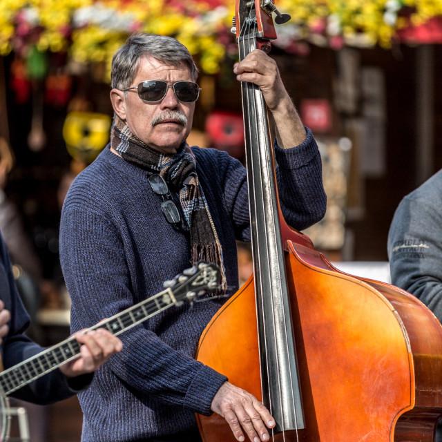 """Czech Easter market musician"" stock image"