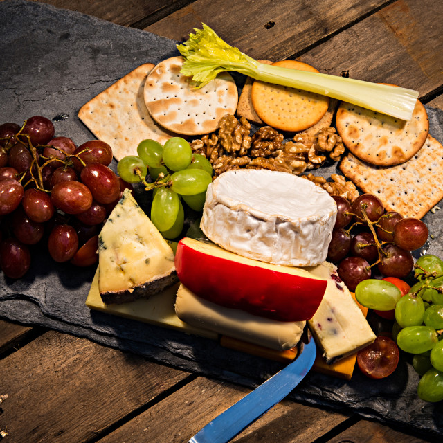 """""""Tasty cheeseboard and fruit"""" stock image"""