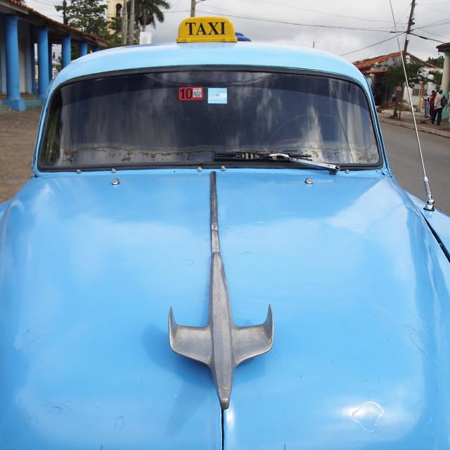 """""""Blue Taxi, Cuba"""" stock image"""