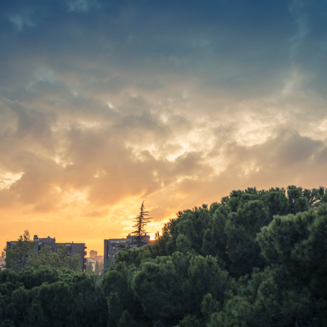 """Sunset on Madrid"" stock image"