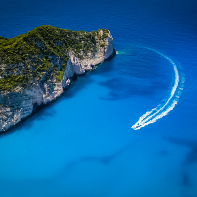 """Fast Boat to Navagio Beach"" stock image"