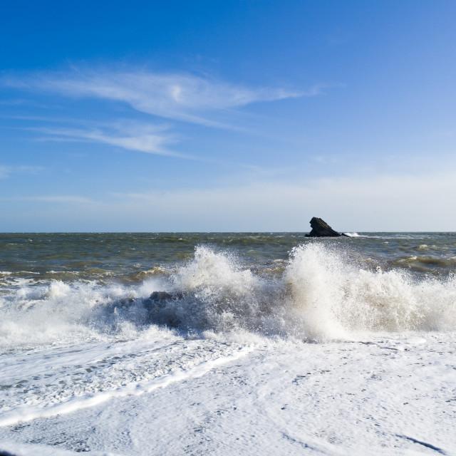 """'East Shag Rock' - Meadfoot Beach - Torquay"" stock image"