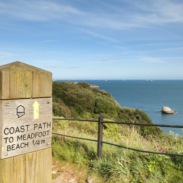 """Coast Path Sign - Daddyhole - Torquay"" stock image"