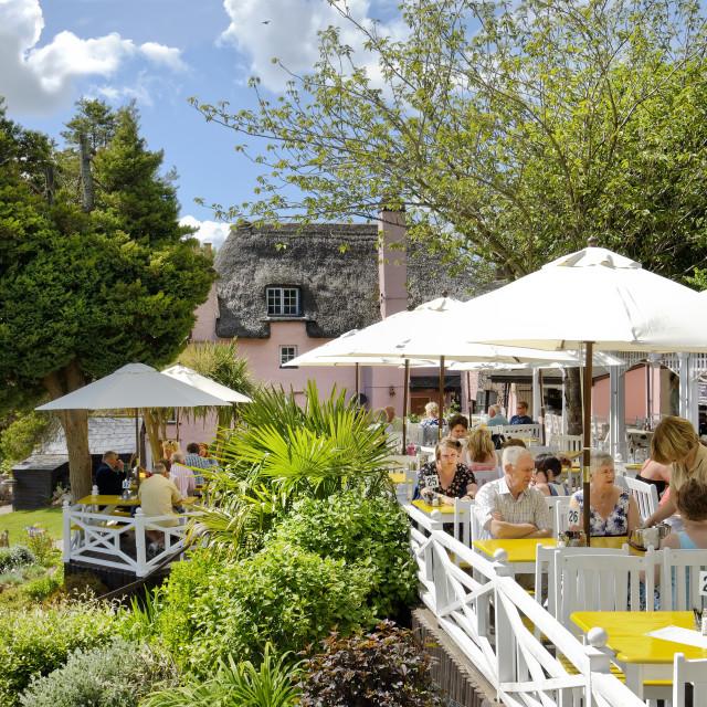 """Rose Cottage Tea Gardens Cockington, Torquay"" stock image"