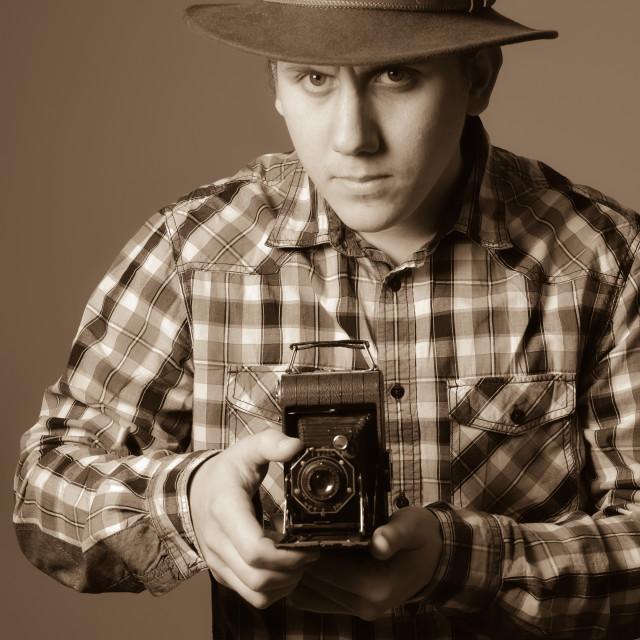 """Young Photographer Retro"" stock image"