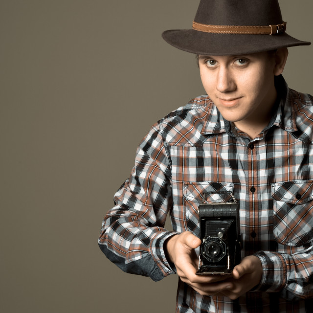 """Young Photographer Retro"" stock image"