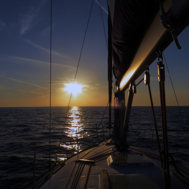 """""""Sailing Sunset"""" stock image"""