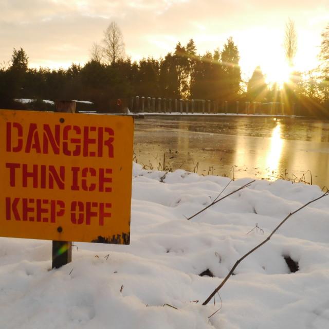 """Danger Thin Ice"" stock image"