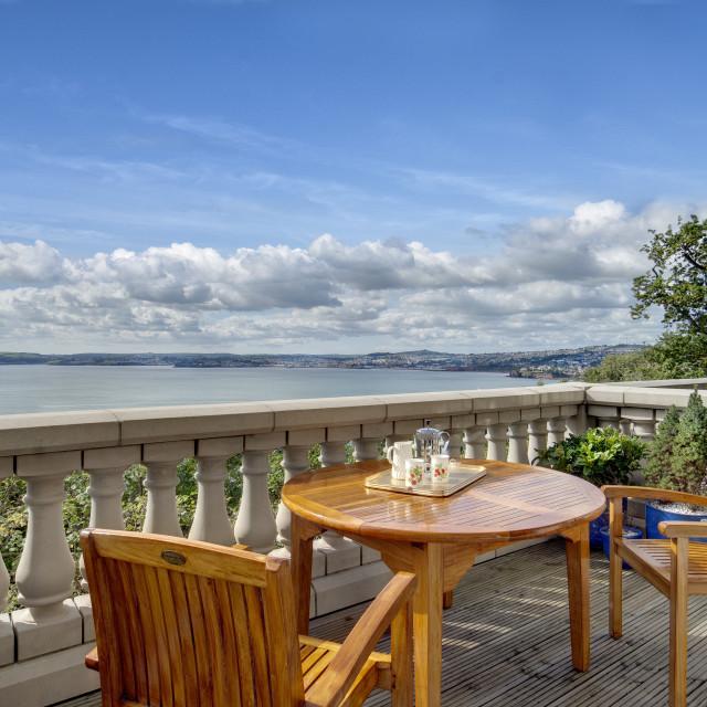 """""""Balcony overlooking Tor Bay - Torquay"""" stock image"""