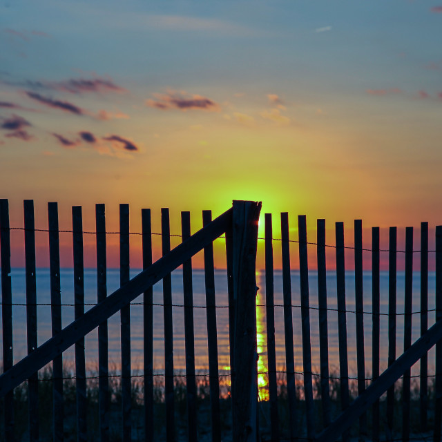 """""""Sunset with wooden fence"""" stock image"""