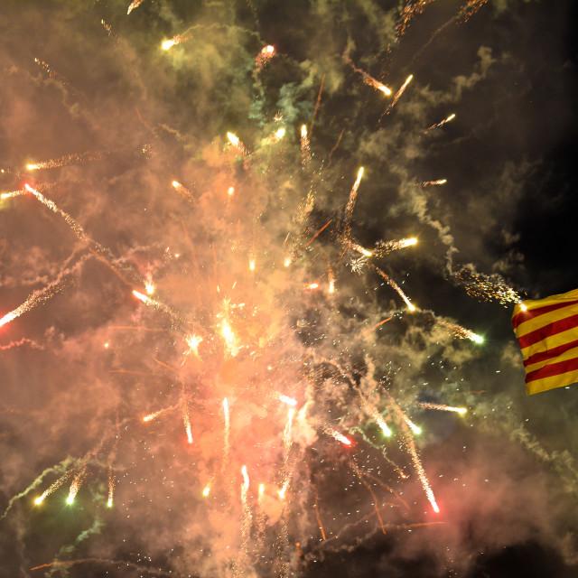 """Fireworks surrounding the Valencia flag during Las Fallas festival"" stock image"