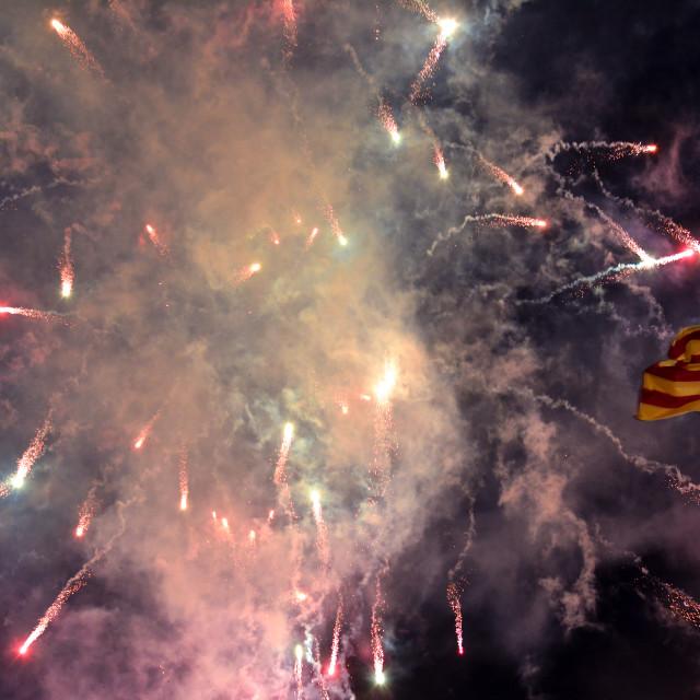 """Fireworks exploding above Valencian flag, Las Fallas festival"" stock image"