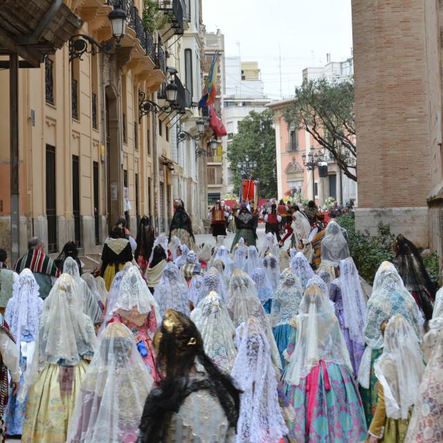 """""""Parade during Las Fallas, Valencia"""" stock image"""