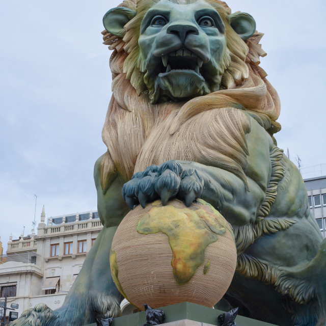 """Lion sculpture during Las Fallas, Valencia"" stock image"