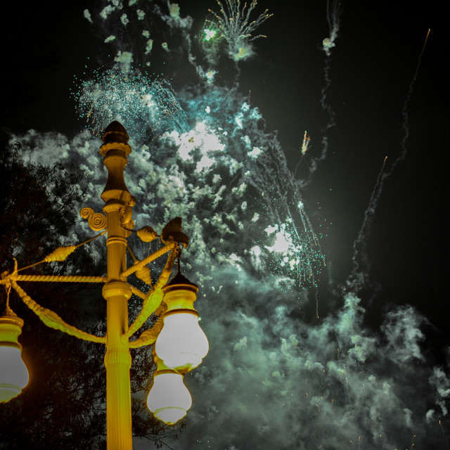 """Fireworks during Las Fallas, Valencia"" stock image"
