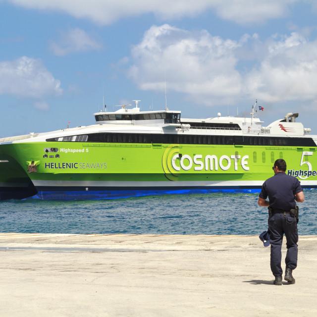 """""""Arriving in Santorini"""" stock image"""