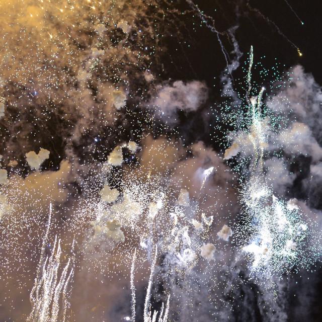 """Fireworks during Las Fallas festival, Valencia"" stock image"
