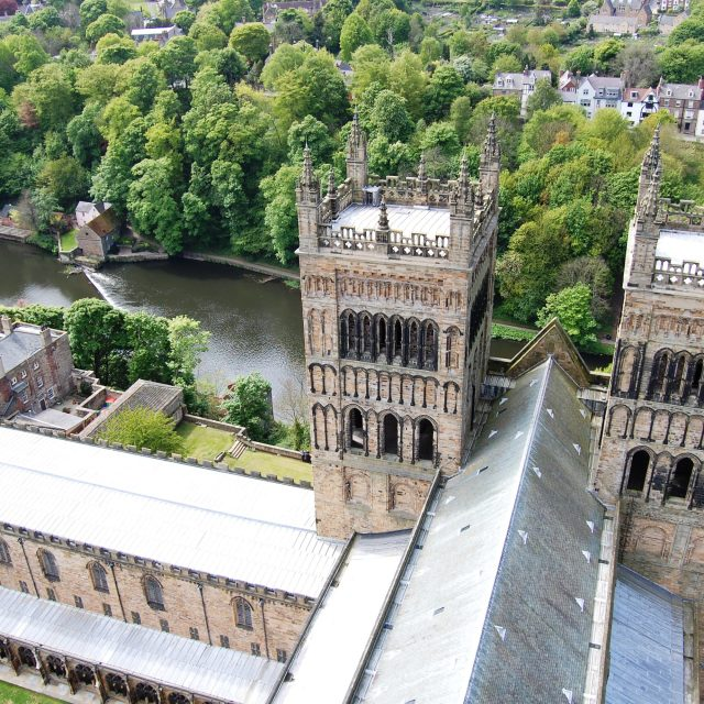 """Western Towers, Durham Cathedral"" stock image"