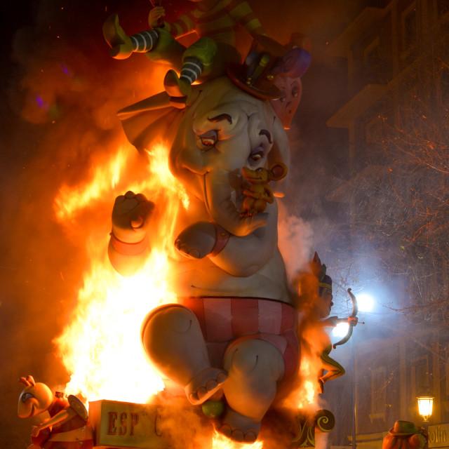 """Burning sculpture during Las Fallas festival"" stock image"