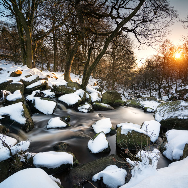 """""""Padley Gorge In The Snow"""" stock image"""
