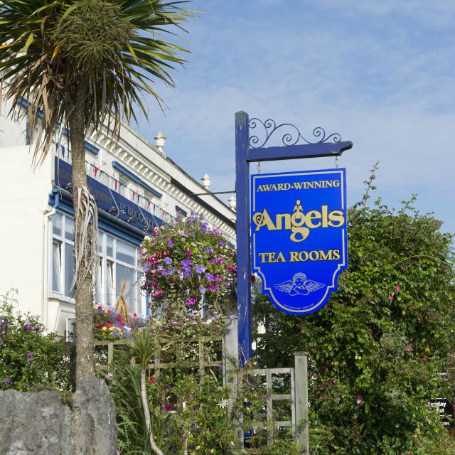 """Angels Tea Rooms Sign - Babbacombe - Torquay"" stock image"