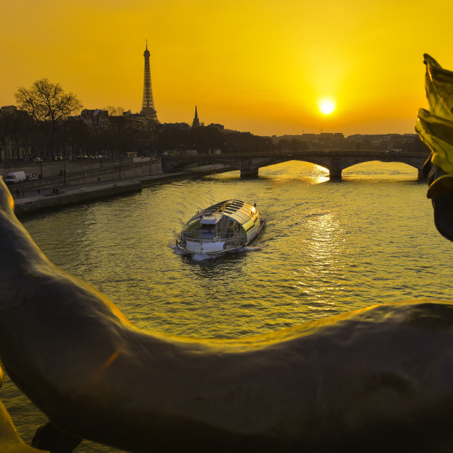 """Paris at Night-Tour Eiffel Pont Alexandre III Bridge"" stock image"