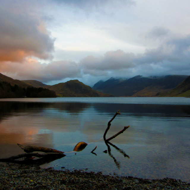 """Sunset at Crummock Water"" stock image"