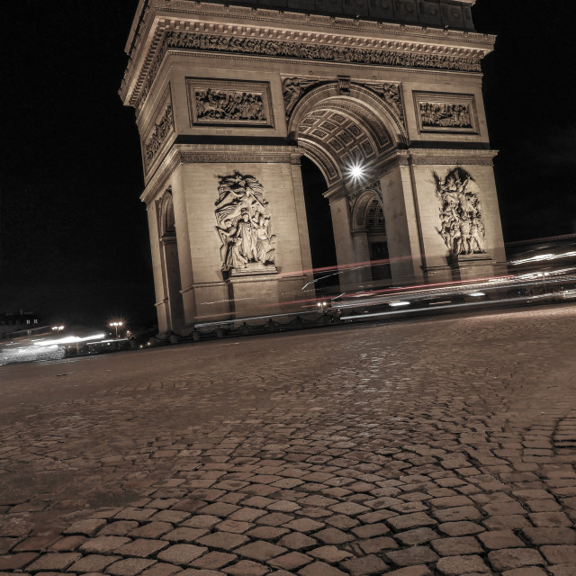 """Paris at Night-Arc de Triomphe"" stock image"