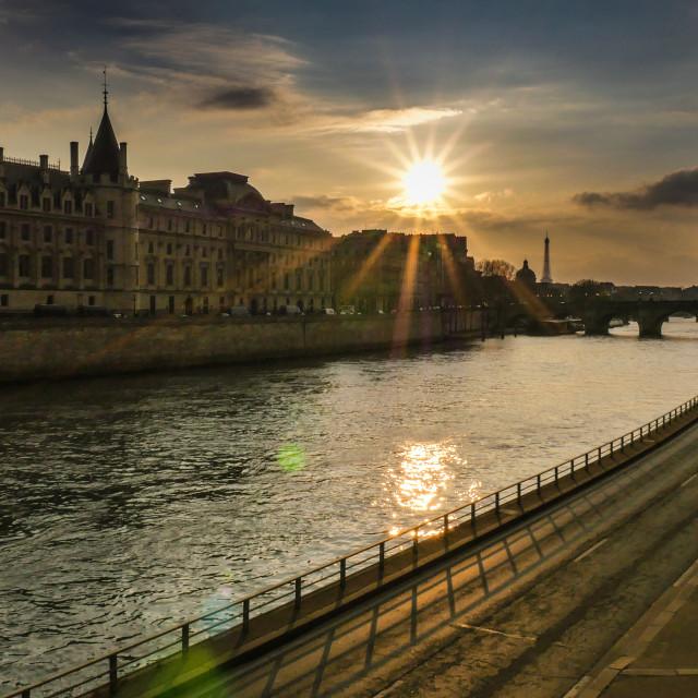 """""""Paris at Night-La Conciergerie-Tour Eiffel"""" stock image"""