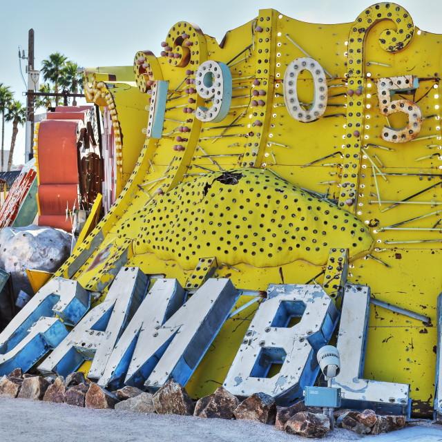 """Old, decaying neon casino signs, Las Vegas"" stock image"