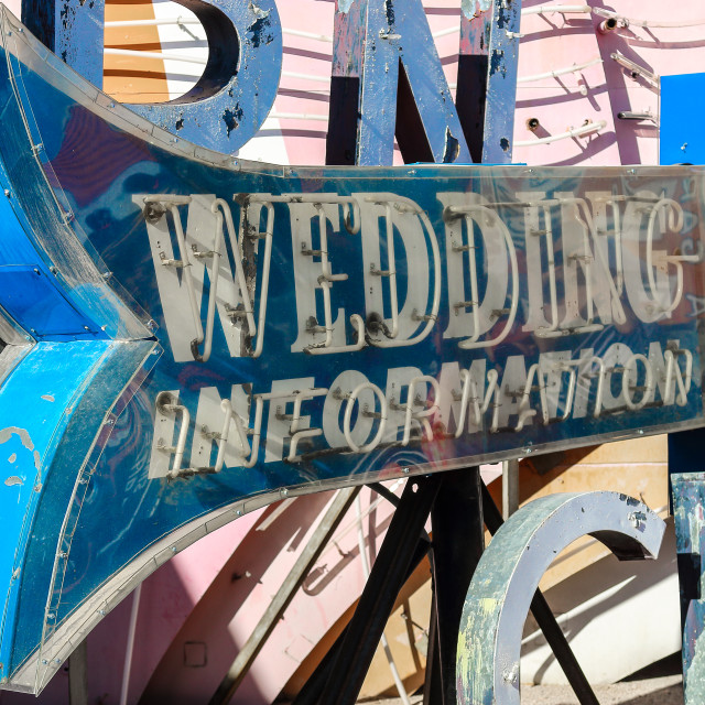 """Wedding Information Neon Sign"" stock image"