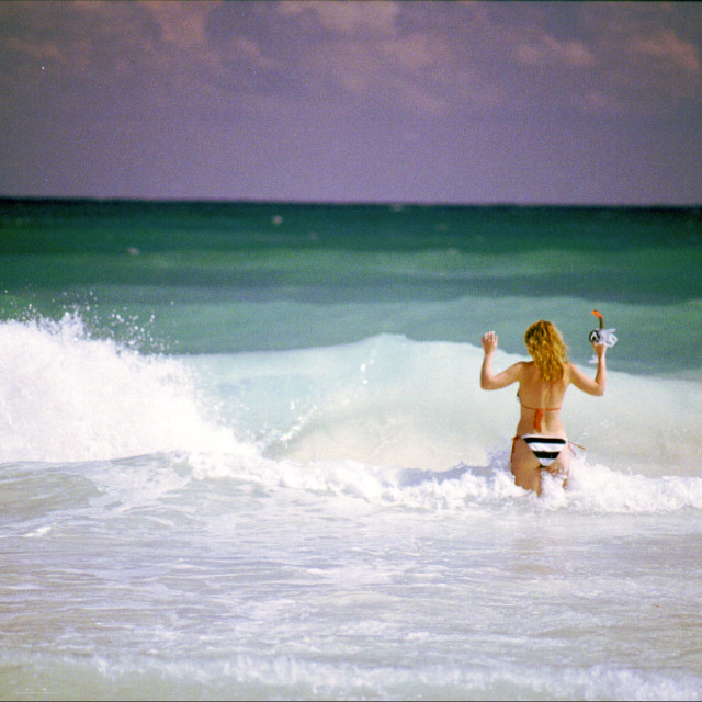 """Bikini Girl in the Waves"" stock image"