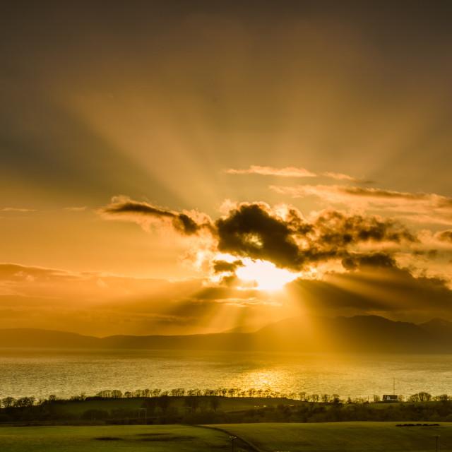 """Sunset over Scotland"" stock image"