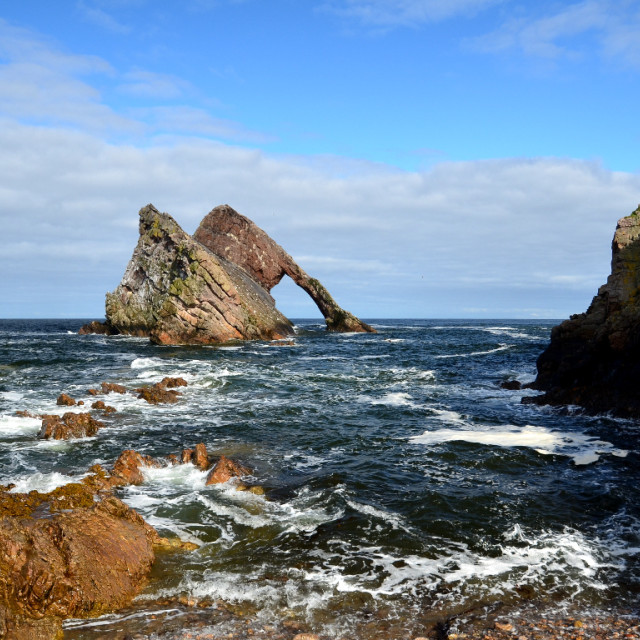 """Bowfiddle Rock, Moray Firth."" stock image"