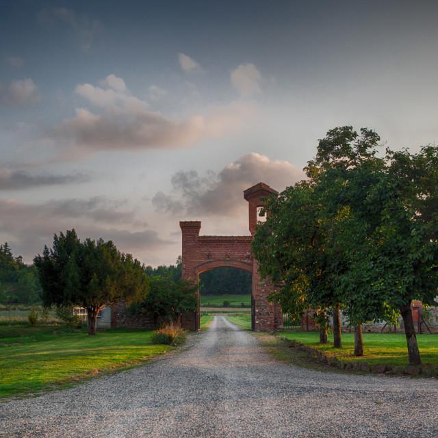 """Italian Villa Gravel Driveway"" stock image"