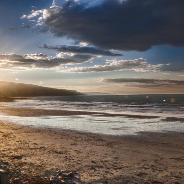 """Ballygally Beach at Magic Hour"" stock image"